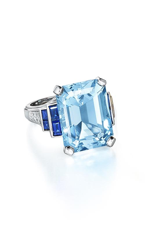 Oscar Heyman Platinum Aquamarine Sapphire Diamond Ring 302118 product image
