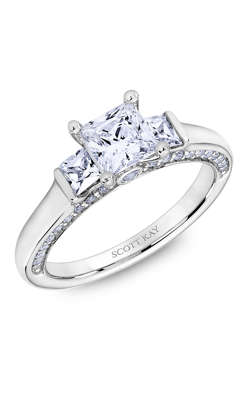 Scott Kay The Crown - 18k white gold 0.82ctw Diamond Engagement Ring, M2616QR510 product image