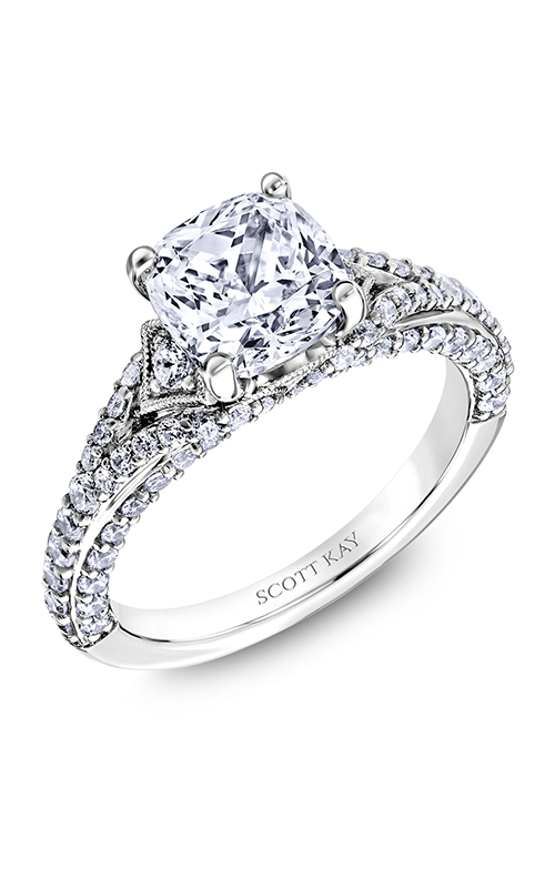 Scott Kay Heaven's Gates - 14k white gold 0.93ctw Diamond Engagement Ring, M2607R520 product image