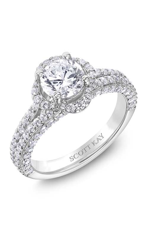 Scott Kay Namaste - 14k white gold 0.96ctw Diamond Engagement Ring, M2572R510 product image