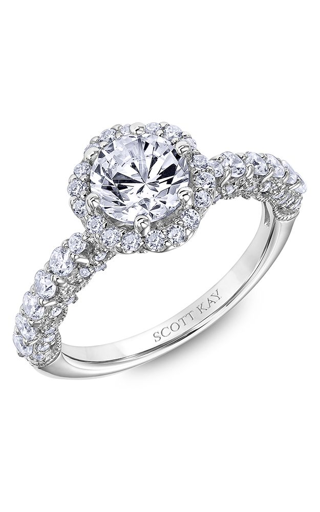 Scott Kay Heaven's Gates - 14k white gold 0.88ctw Diamond Engagement Ring, 31-SK6016ERP-E product image