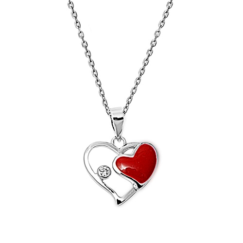 Jazzy Jewels Sterling Silver CZ Red Enamel Heart Pendant Necklace at Sears.com