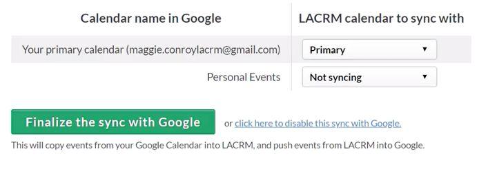Sync your LACRM calendar with Google