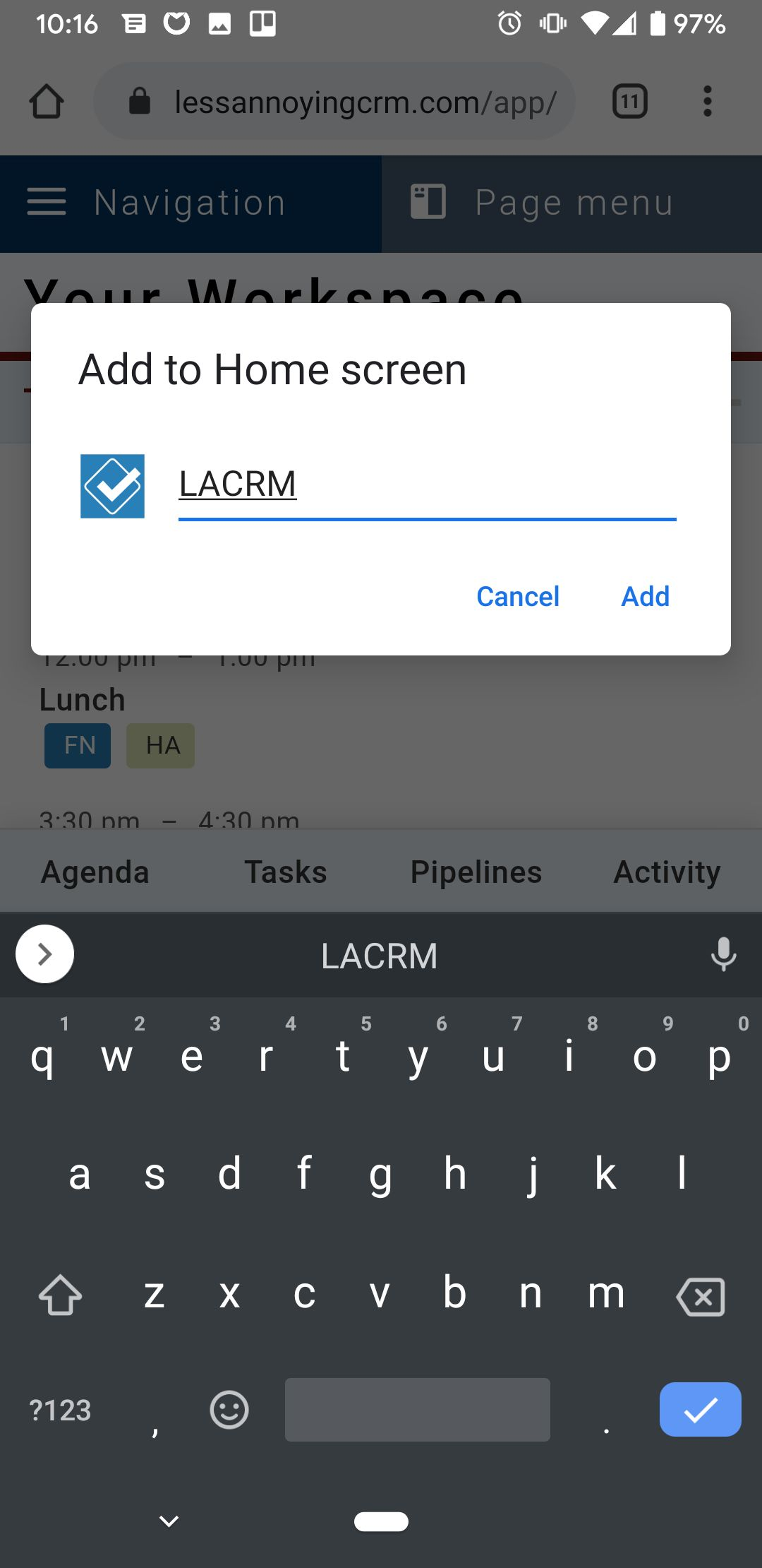 Pinning LACRM to Android homescreen