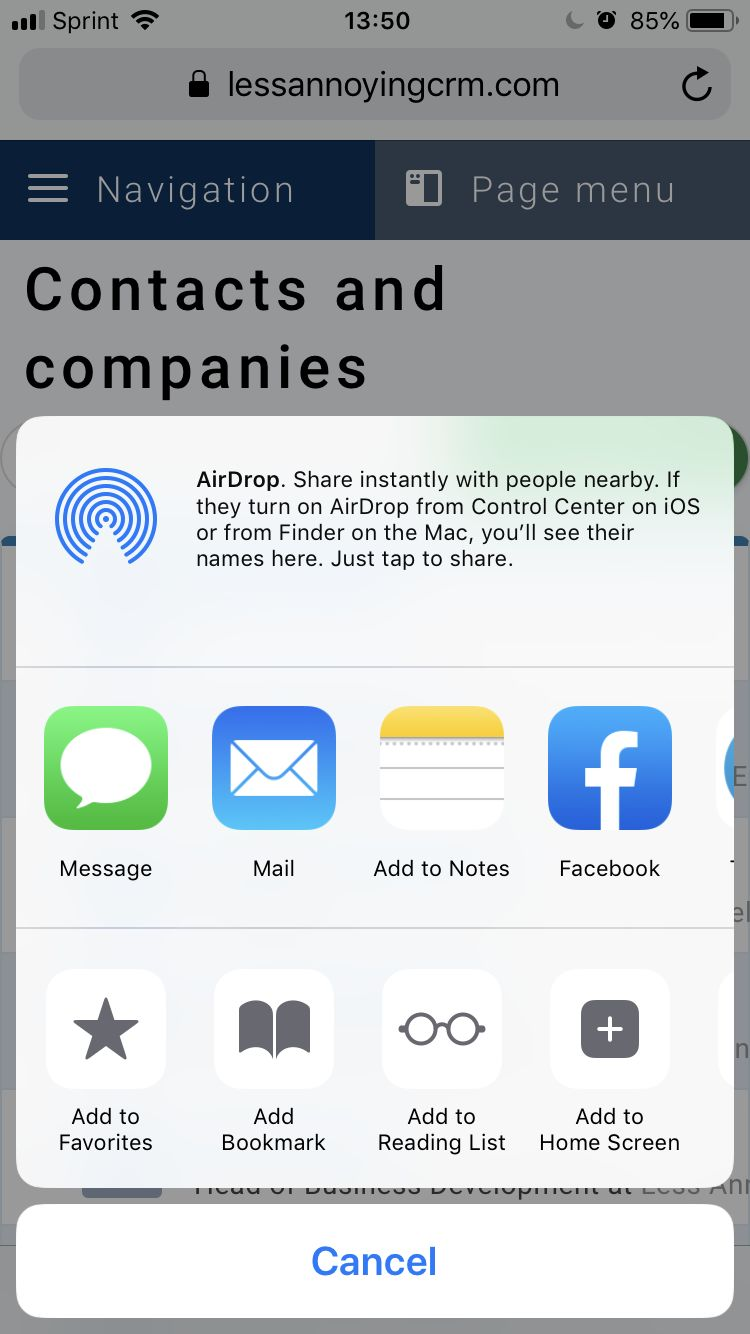 Pinning Less Annoying CRM to iPhone homescreen