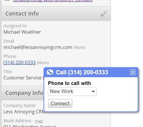Google Voice Click-to-call dialogue