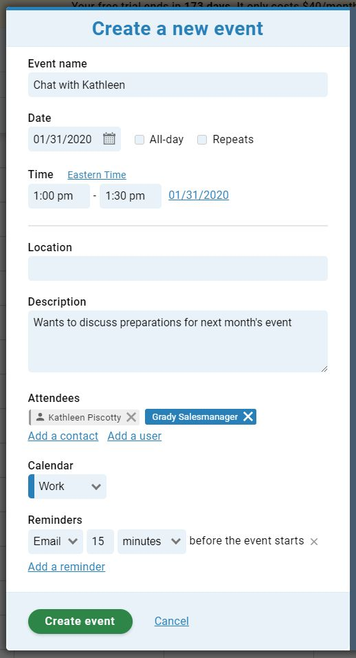 Less Annoying CRM event creation