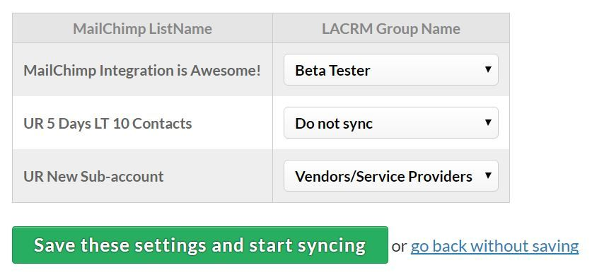 MailChimp List syncing