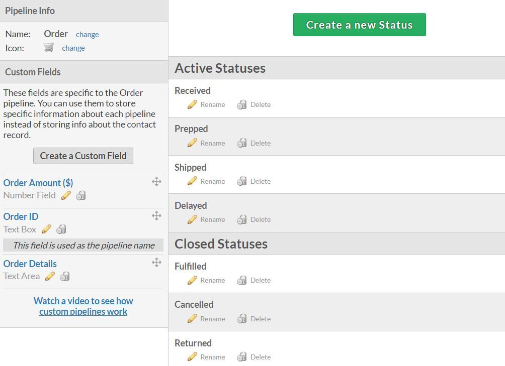 Customizeing statuses and pipeline fields