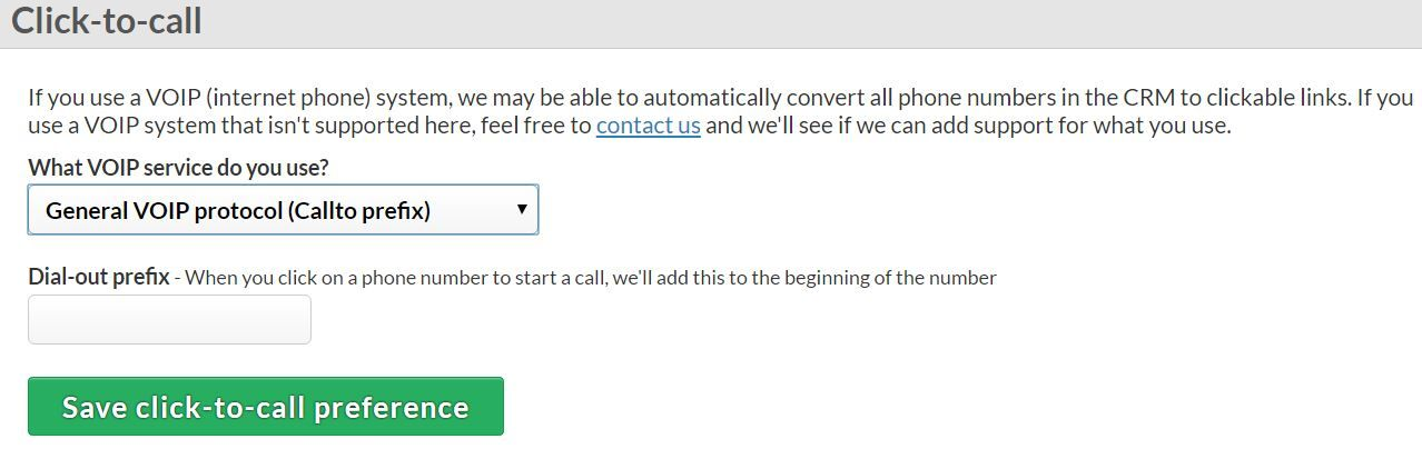 Click-to-call Less Annoying CRM settings