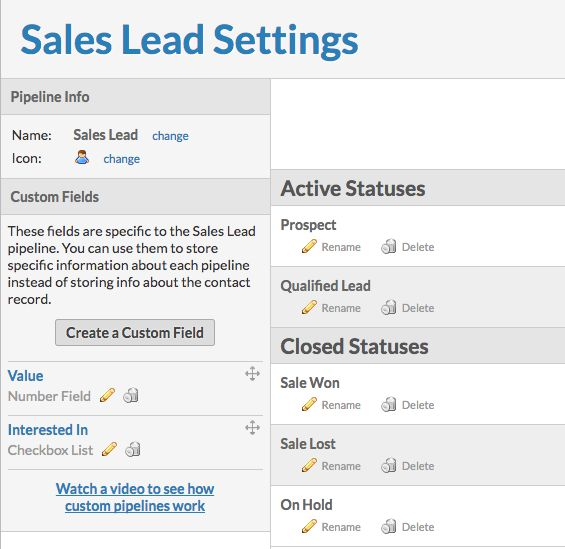 using pipeline templates sales lead