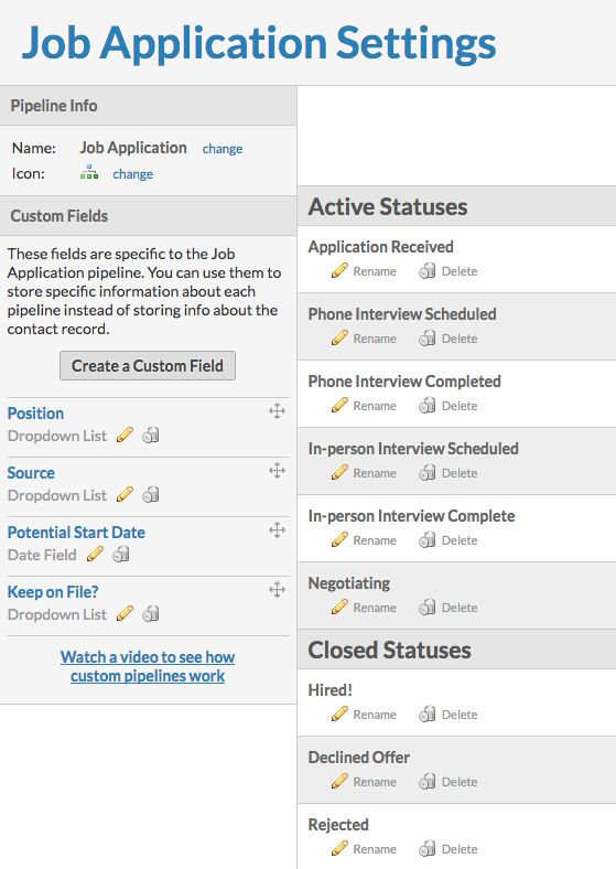 using pipeline templates job application