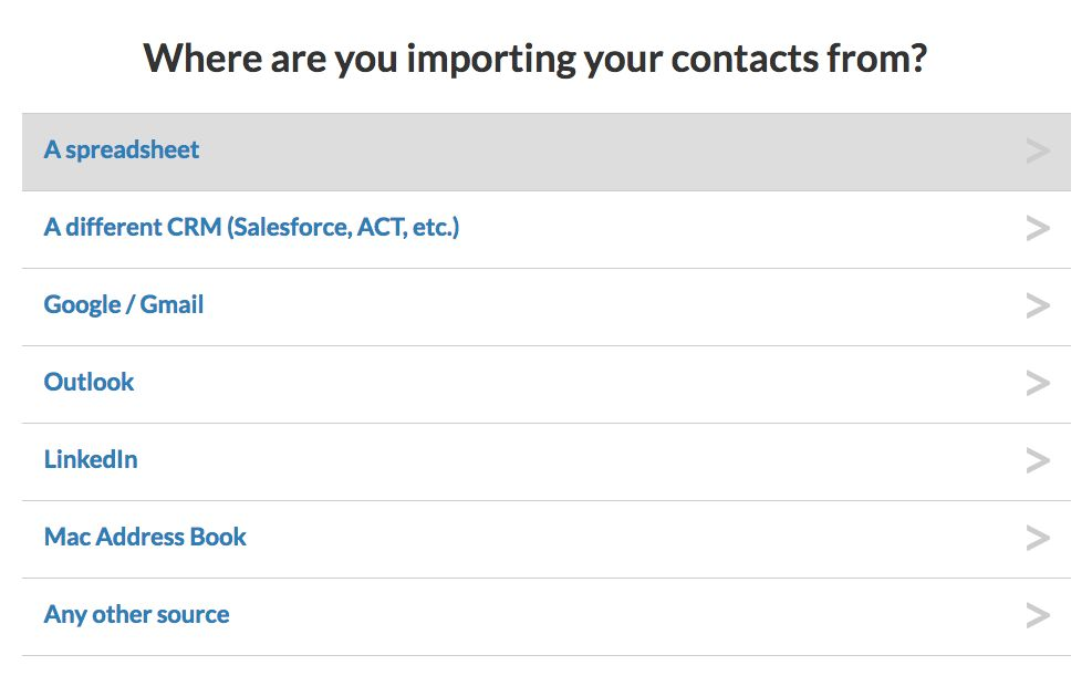Select your importing source