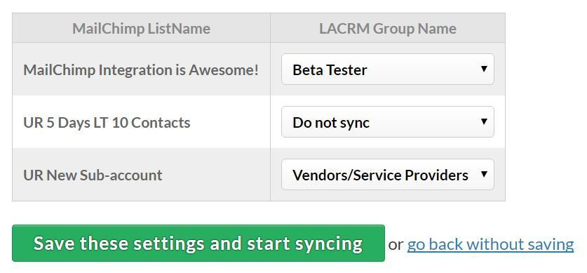 Link your LACRM groups with lists in MailChimp