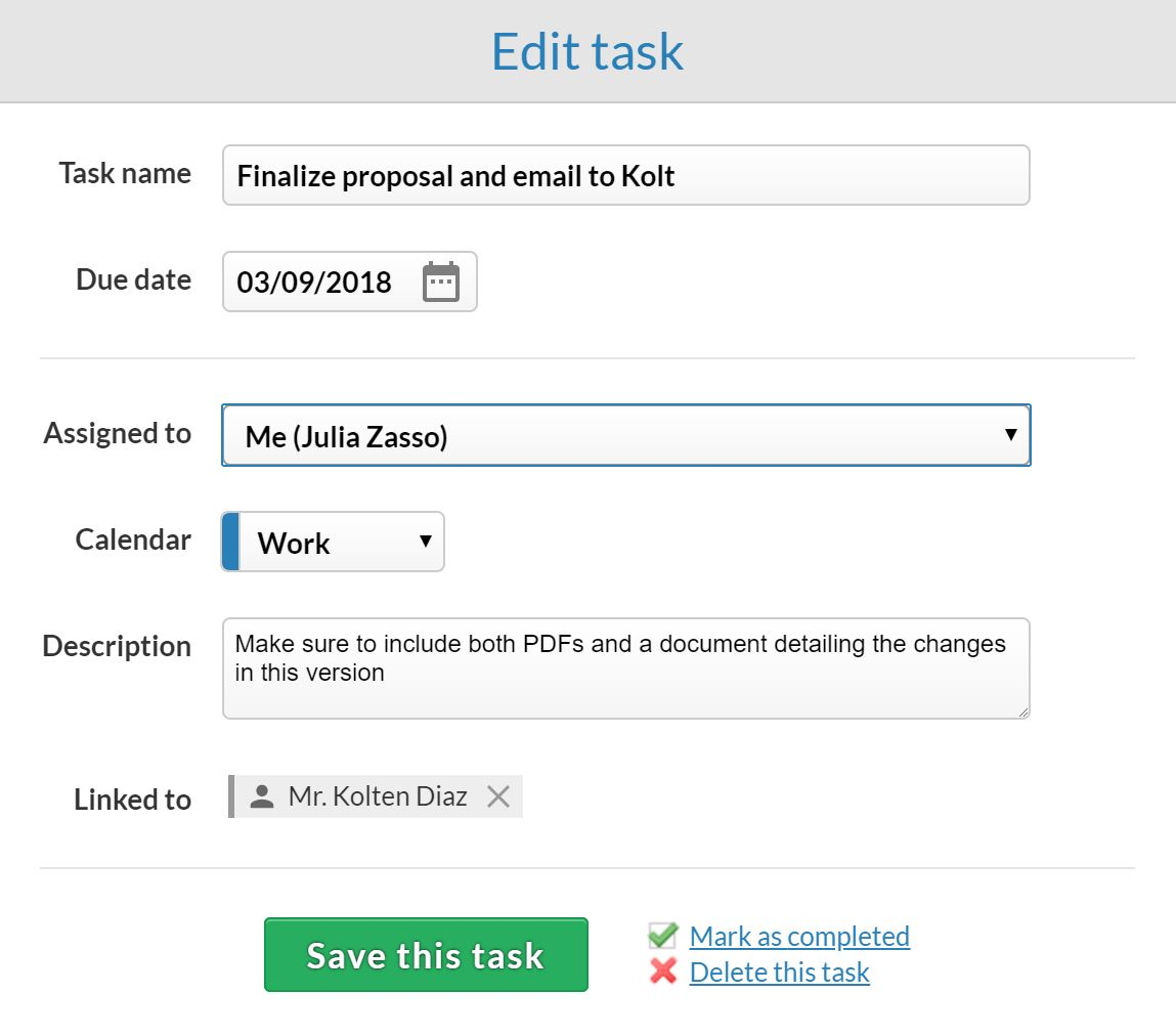 Less Annoying CRM task creation