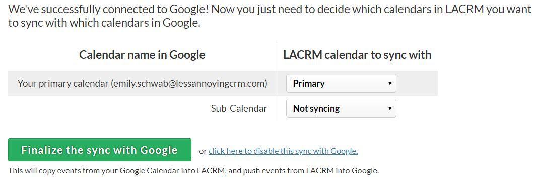 Google Calendar sync setup