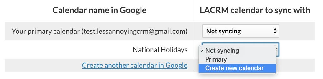 Create a new subcalendar in Less Annoying CRM when syncing with Google