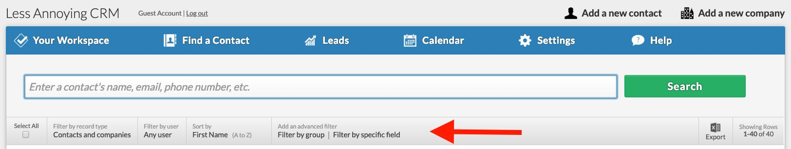 Check out the filters on the Find a Contact page!