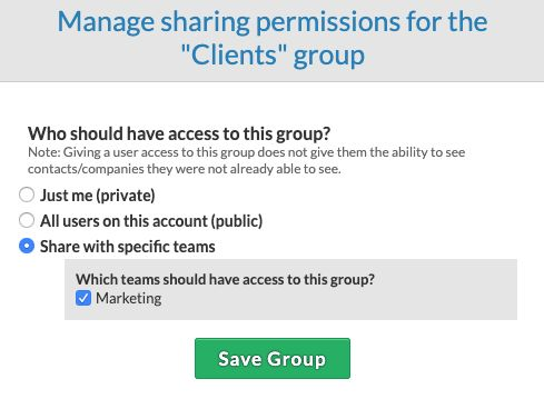 Sharing groups with a specific team
