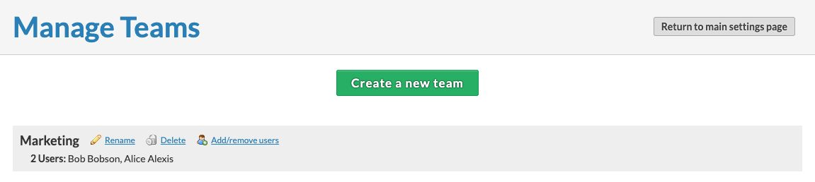 Manage your teams