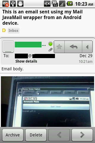 gmail inbox showing email sent from app