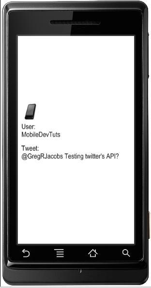 mobiledevtuts' last tweet as seen in the simulator