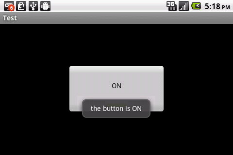 toggle button in on state with message