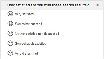 A screen shot of Google's new feedback form, asking user to rate the quality of the results he got