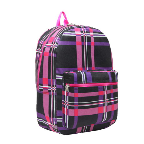 Wholesale Dual Compartment Purple and Pink Plaid Backpack