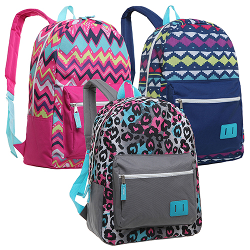 Assorted Pattern 16.5 Inch School Backpacks for Girls