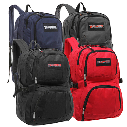 Trailmaker Classic Multi Compartment Wholesale Assorted School Bags – Primary Colors
