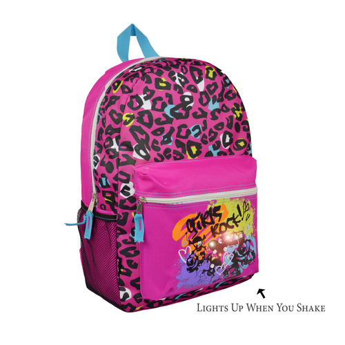 17 inch Trailmaker LED Light-Up School Kids Backpack for Girls