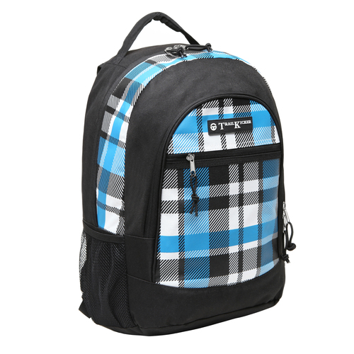 Large Blue Plaid Multi Compartment School Book Bag