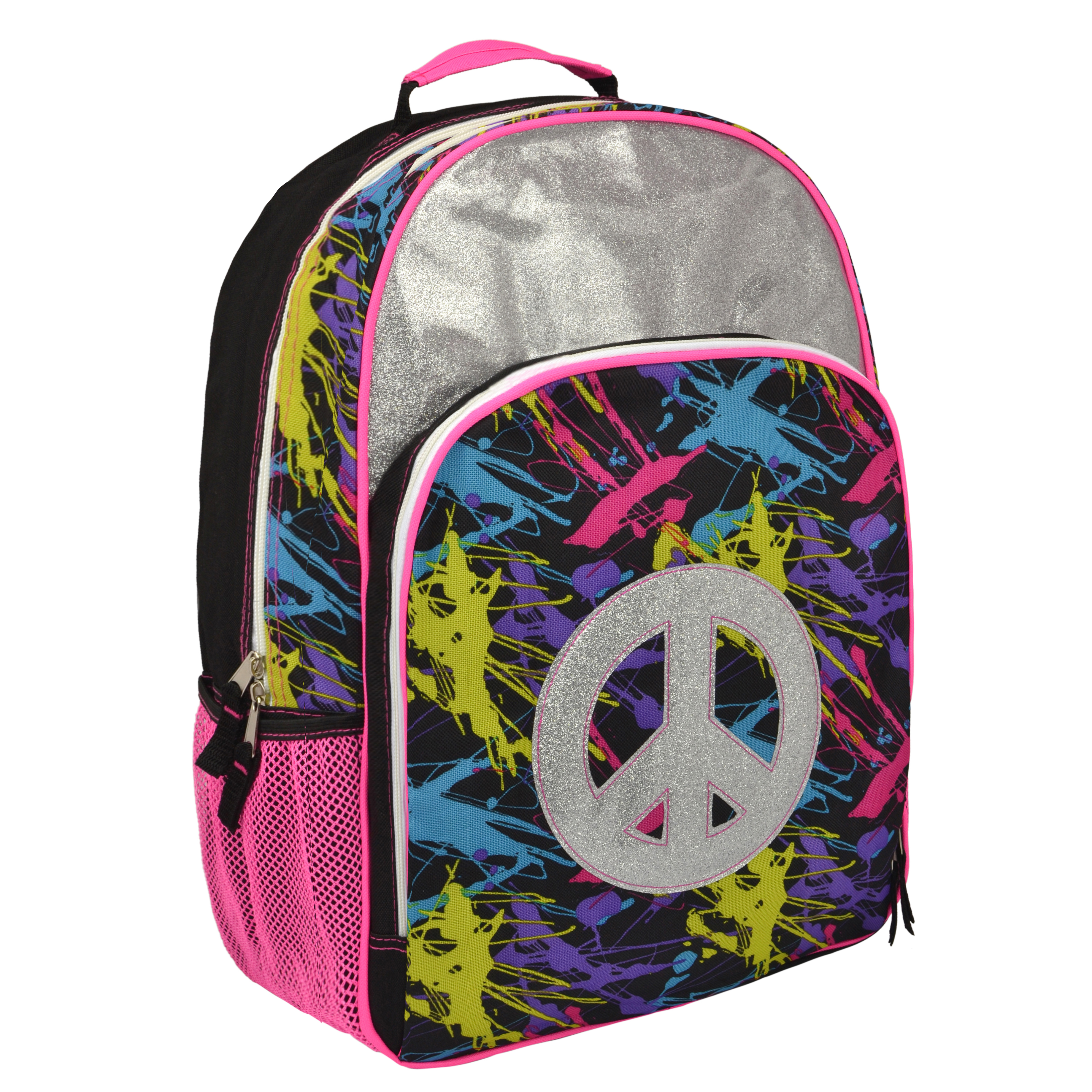 Trailmake Glitter Peace Sign 17.5 inch School Bag Girls Shoulder Backpack