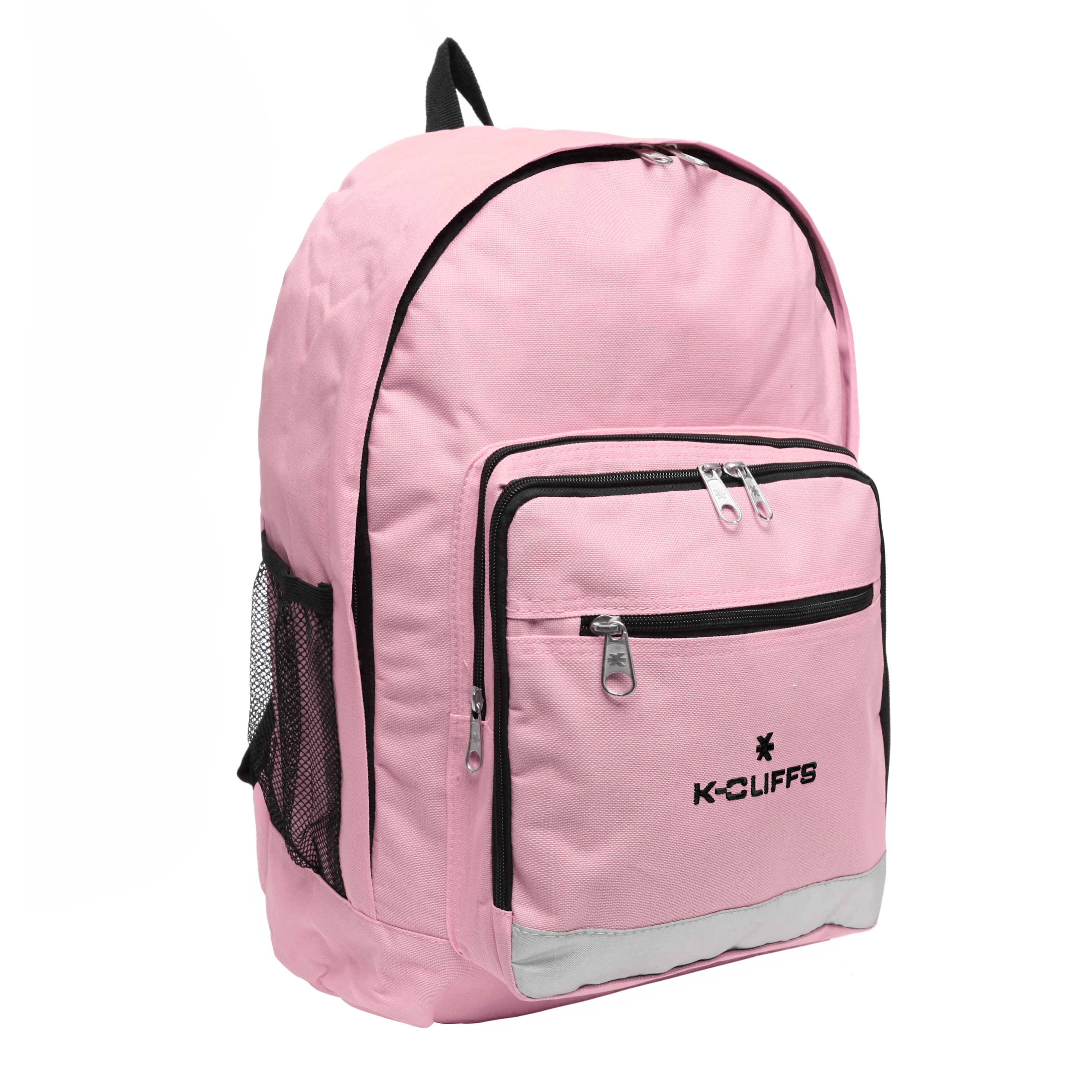 Wholesale Backpacks Pink Multi Compartment Full Size Backpack with Reflective Strip