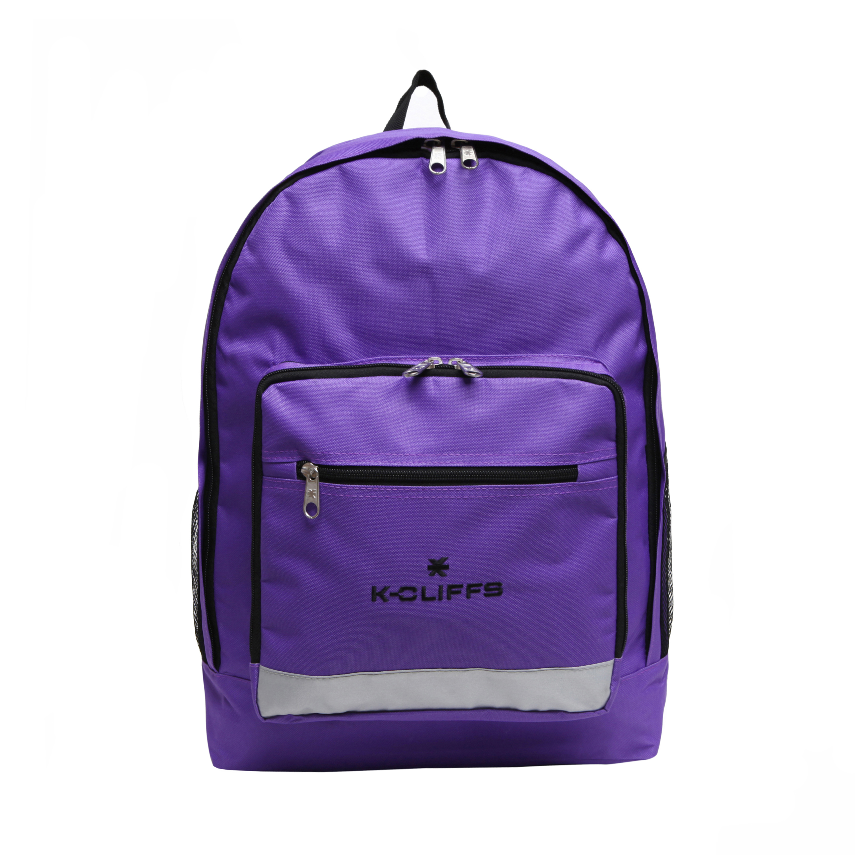 Wholesale Backpacks Purple Multi Compartment Full Size Backpack with Reflective Strip