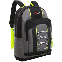 MGgear 15.5 Inch Bungee Pocket Elementary School Backpack For Kids, Gray