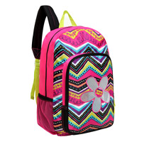 MGgear 17 inch Shiny Flower Wholesale Girls Backpack, Pink Zigzag