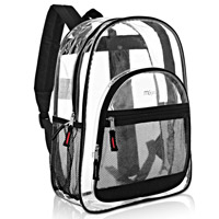 MGgear Clear School Backpack for Kids, Black Trim