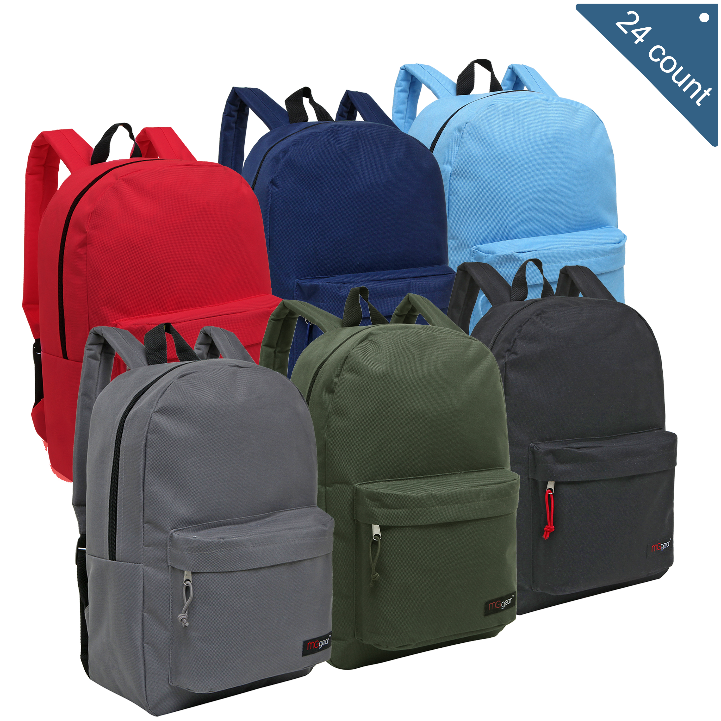 MGgear 16.5 inch Basic Elementary School Kids Wholesale Backpacks, Primary Color Mix
