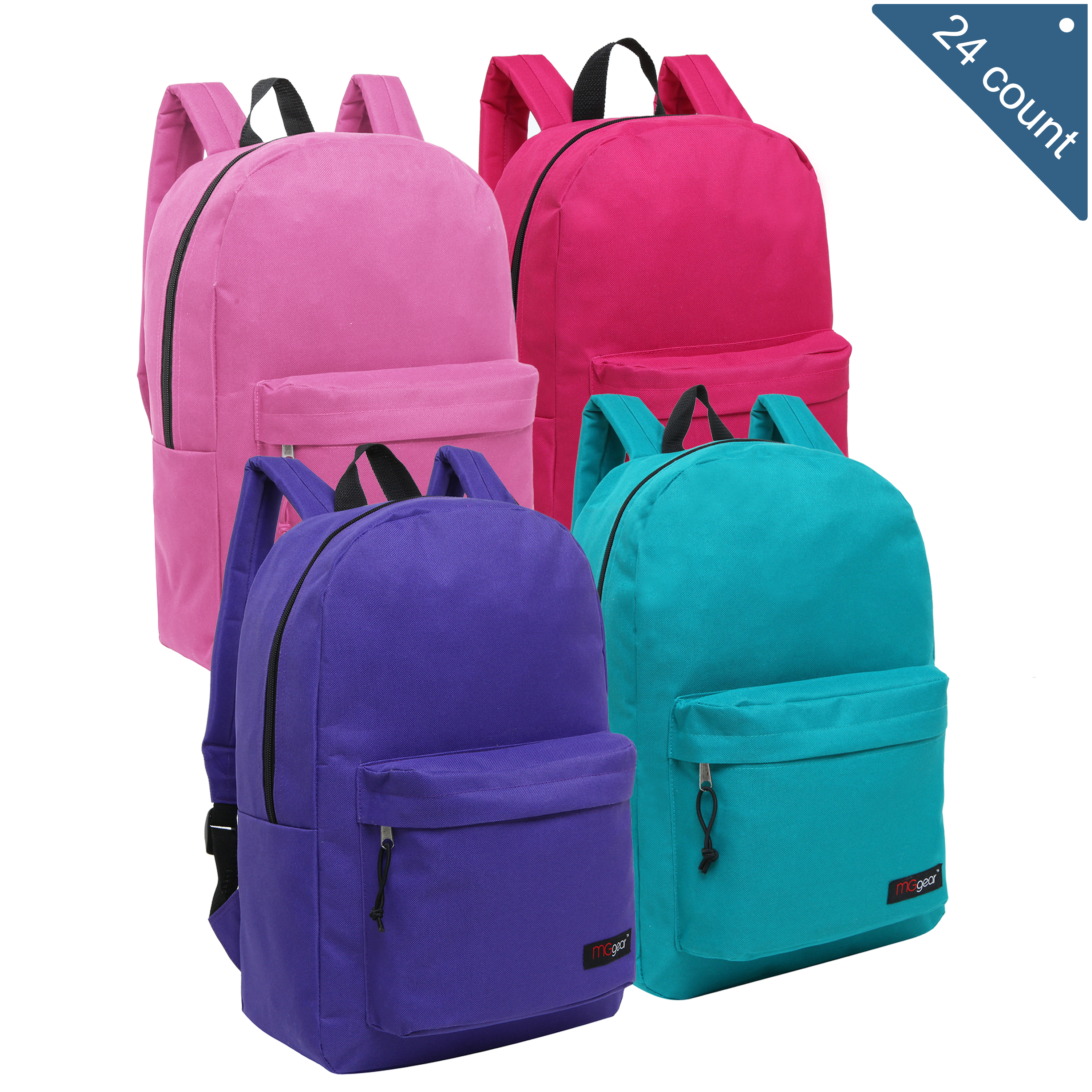 MGgear 16.5 inch Basic Elementary School Kids Wholesale Backpacks, Pastel Color Mix