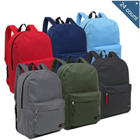 MGgear 16.5 inch Light Duty Basic Elementary School Kids Wholesale Backpacks, Primary Color Mix