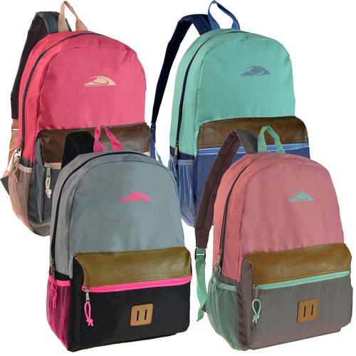 Wholesale Backpacks Block Print Bulk Book Bags, 4 colors