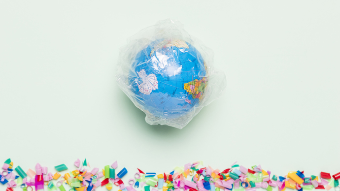 Top view globe covered in plastic