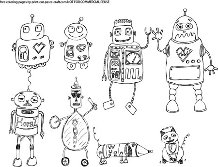 Wonderful Preview Of The Cute Robots Coloring Page