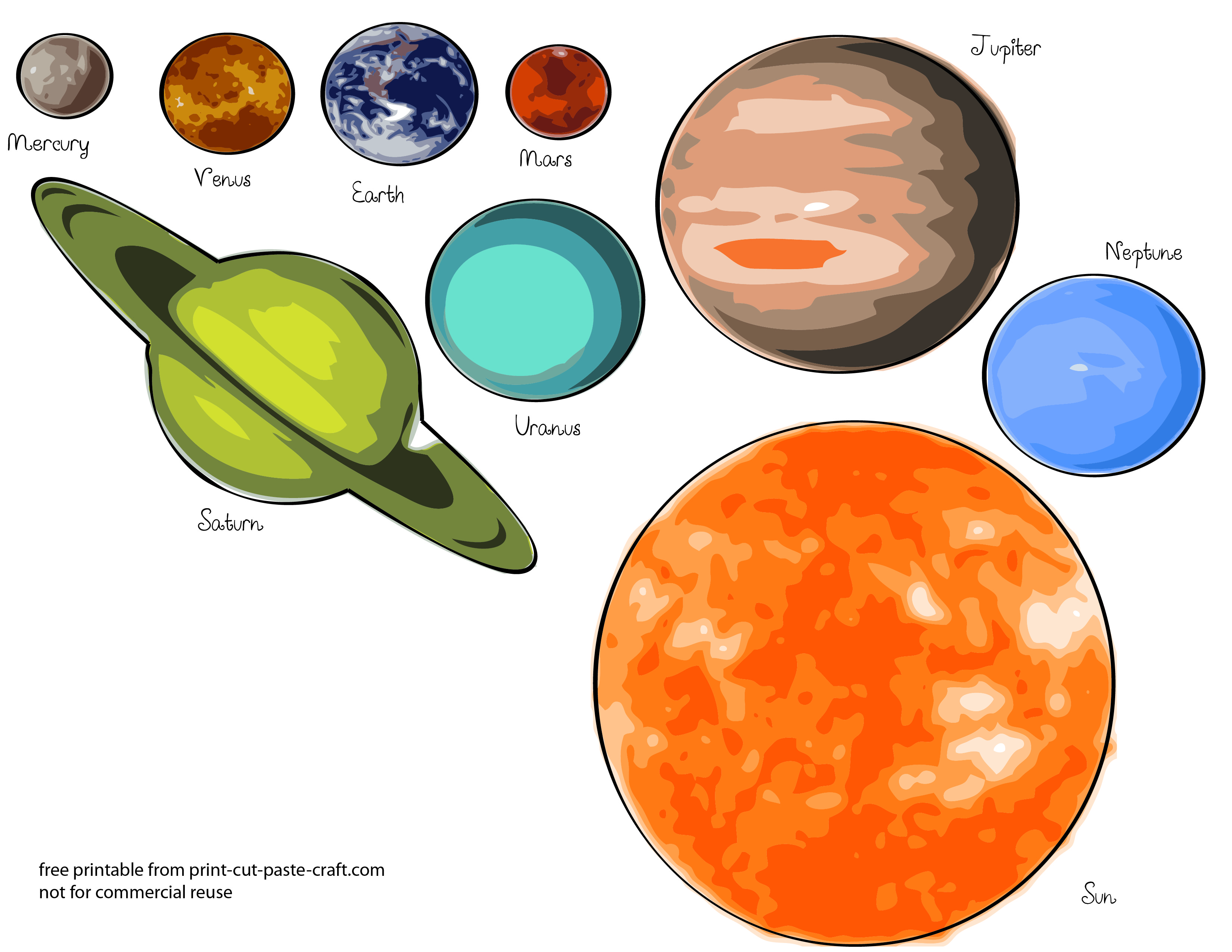 Free Solar System Printable Coloring Pages to Scale 3