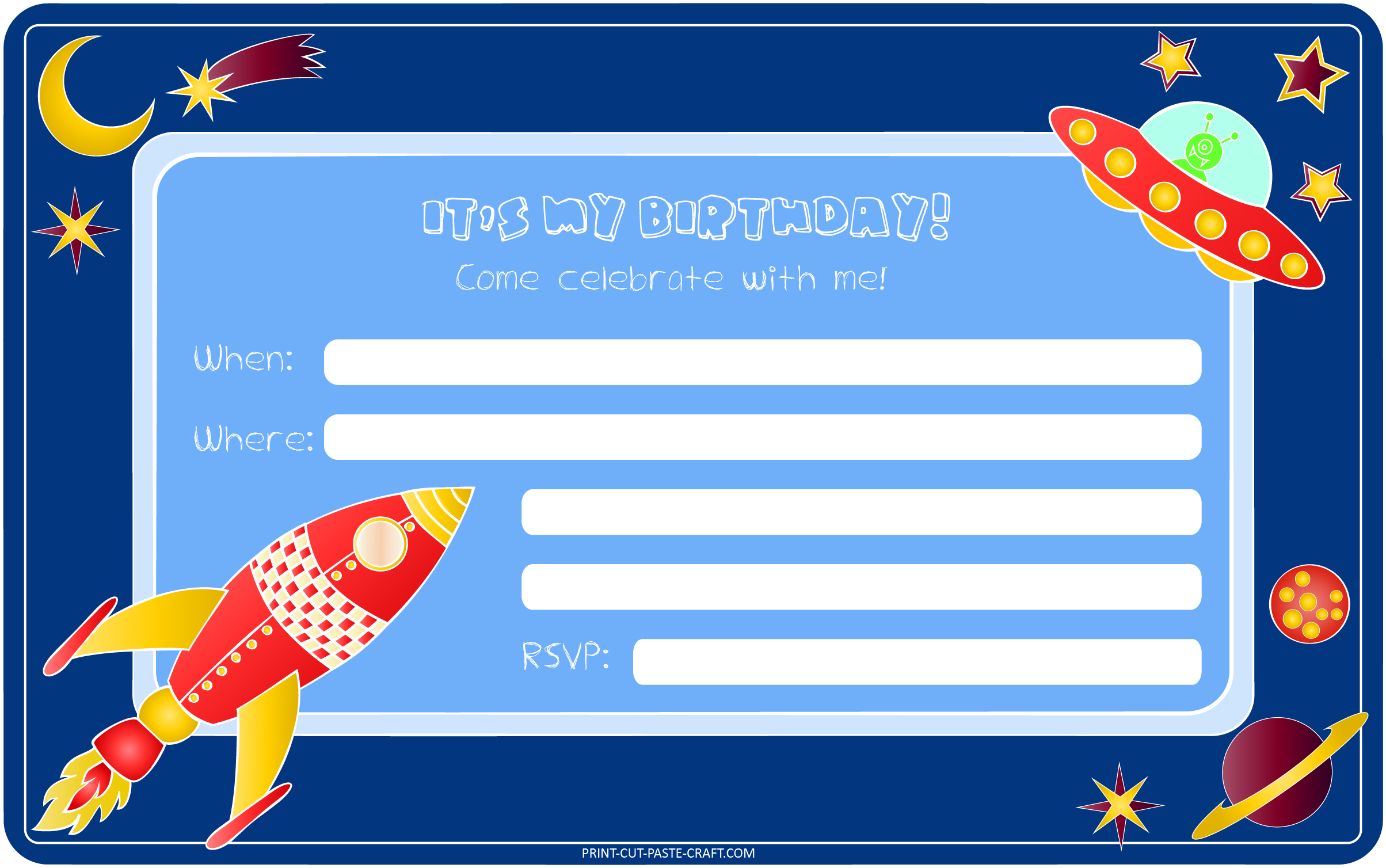 Space Themed Birthday Invitation – Print, Cut, Paste, Craft