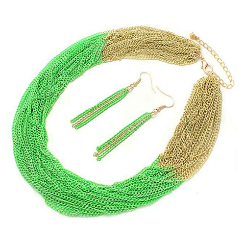 PammyJ Fashions Goldtone and Neon Green Multi Strand Chain Necklace and Earrings Set at Sears.com