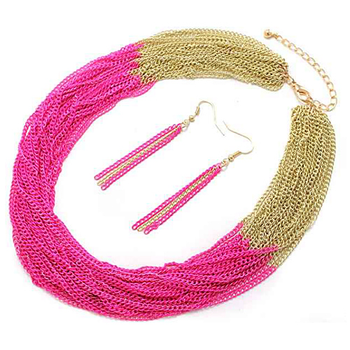 PammyJ Fashions Goldtone and Neon Pink Multi Strand Chain Necklace and Earrings Set at Sears.com
