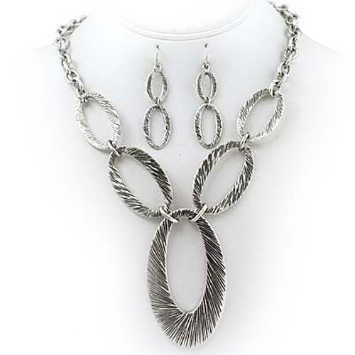 PammyJ Fashions Burnished Silvertone Large Link Necklace and Earrings Set at Sears.com
